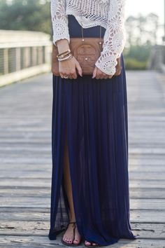 fashion styles, maxis, outfit, long skirts, clutch, navy, crochet tops, blues, maxi skirts