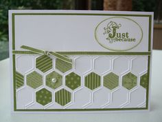 handmade card from MaKing Papercrafts ... three rows of embossed hexagons from the Honeycomb embossing foler ... green patterned papers make a hexagon quilt flower and a row ... great designing ... Stampin' Up!