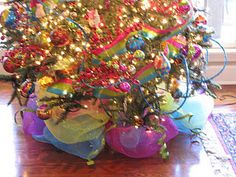 Deco mesh #Christmas #tree #skirt in candy colors