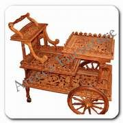 Antique Carved Furniture & Handicrafts Tea Trolley, Tea Cart