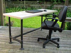 Custom pipe-frame tables and desks at www.wesleyellen.ca