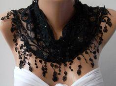 Black /Elegant shawl/Scarf.