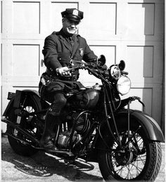 Vintage New York City motorcycle police officer.