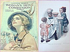 """$65 This is a RARE *cover only* of the Woman's Home Companion Magazine for Feb. 1911. The front has a Beautiful lady bird watching by Harriosn Fisher. The Reverse is a Cream of Wheat ad by W. V Cahill titled """"First aid to the injured"""""""