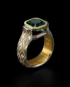 Zoltan David  Emerald Ring; Platinum with Pure Gold Inlay and Insleeve; Ideal Cut Diamonds