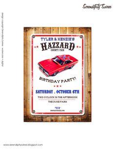 Hazzard County Custom printable invitation  YEEHAW!