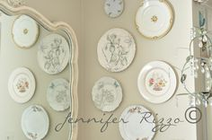 Beautiful plate wall with vintage china.... #DIY