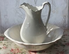 I have always wanted to add an antique Pitcher & Bowl to my antique collection but haven't found the one I want just yet......this Ironstone one is simply beautiful!