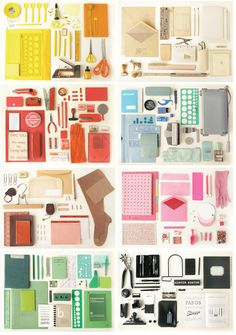 swedish design trio kontor kontur composited colorful collections of found office supplies from their studio.