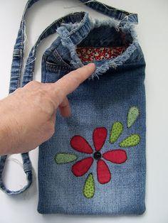 Recycled Denim Bag using the leg