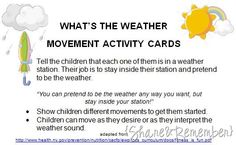 What's the Weather? Movement Activity Cards - printable