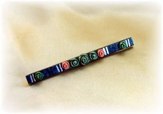 Vintage celluloid bar pin dark blue with roses ~ visit my shop for more vintage celluloid!