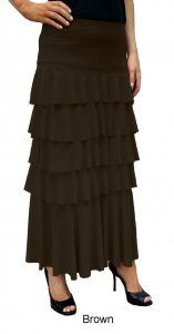 Long Layered Skirt in Dark Brown - $45.00 :: DCM Apparel - Modern Modest Clothing #ruffleskirts #layeredskirts #modestapparel #modestclothing