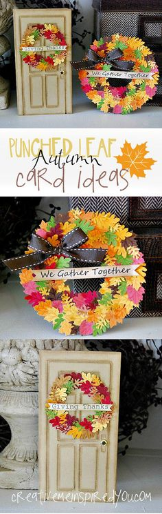 handmade wreath cards using leaf punches - bjl ... luv the wreath shaped card with dozens of little leaves ...