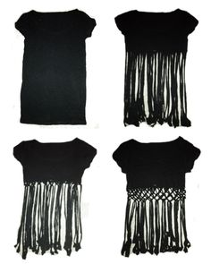 T-Shirt - Cute idea but not much into fringe.....I think I might have to make that pattern all the way to the bottom.