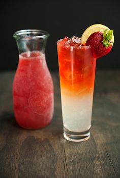 strawberry infused vodka with lemonade