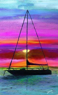 digit art, color, digital art, acryl print, sail boat paintings, sail photo, sailboat, paint fun, acrylic painting silhouette