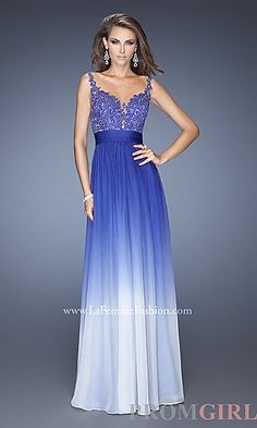 Floor Length Ombre La Femme Prom Dress 19763 at PromGirl.com
