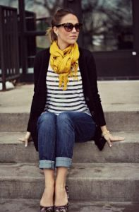 stripes with touch of color   #2013 #fall #outfit #women