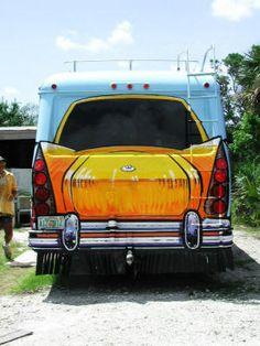 Vintage camper Sportscar Back