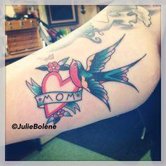 Mom tattoo sparrow tattoo heart tattoo julie bolene