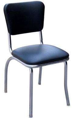 "Commercial Grade Black Diner Chair with 1"" Pulled Seat, Metal Frame $109.00"