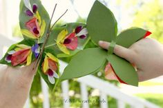Flower Finger Butterfly - Use those fall flowers for this easy kids craft!