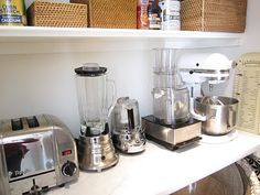 Inside the pantry we have all of our small appliances plugged in so that we can use them in here and not take up valuable counter space: