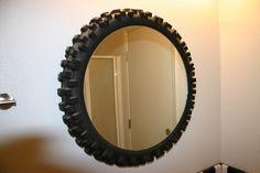 Dirt Bike Tire Mirror....weird kinda but thoughtful...??? haha maybe in the garage..
