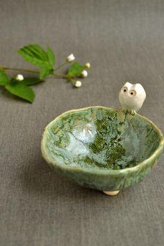 pottery studio, owl bowl, art, bird nests, ceramics, lee wolf, ceram owl, bowls, wolf potteri