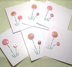 handmad card, button flowers, handmad button, art idea, crafti stuff, buttons, button card, cards, 80th idea