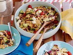 Grilled Greek Panzanella Salad #GrillingCentral #PanzanellaRecipe