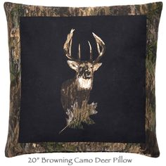 """Browning Deer Pillow with a camo border reverses to camouflage. 20"""" square. Add matching window treatments for the avid deer hunters home or hunting lodge cabin decor.   http://www.delectably-yours.com/Browning-Buckmark-Bedding-C753.aspx"""