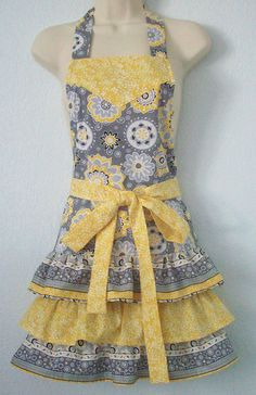 Gray and Yellow Retro Full Apron