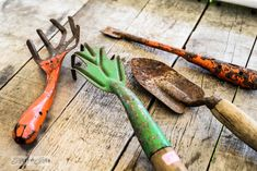 Rare vintage hand garden tools - the finishing touch to the shed via FunkyJunkInteriors.net