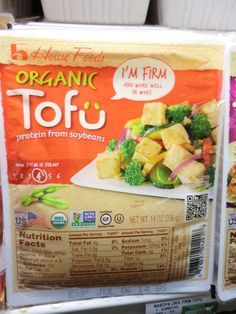 House Foods organic tofu. Only the organic line has the umlautted u. http://www.house-foods.com/products/Organic+Tofu/ food organ, hous food