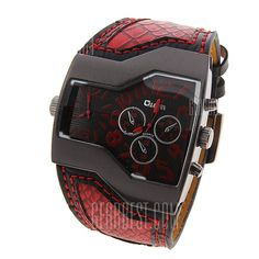 Oulm Men Military Sports Watch Dual Movt Quartz Wristwatch with Leather Band Decorative Sub-dials