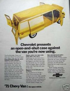 And here's a Chevy ad trying to look like a VW ad. Original Ad '71 Chevy Van Chevrolet Space Vehicle (1970)