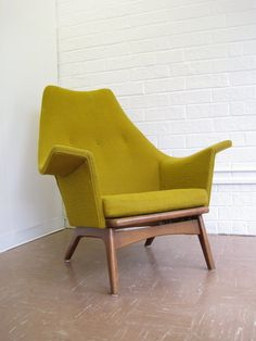 Mid-Century Modern Lounge Chair in Mustard Yellow.