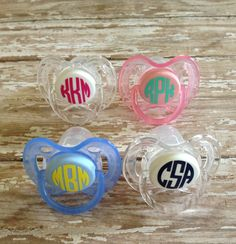 Monogram pacifier decal-circle font on Etsy, $3.50