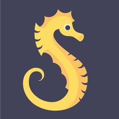 Letter S // Animal Alphabet // Seahorse Art Print