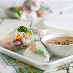 Thai spring rolls with spicy peanut sauce. marinade modification: 1 tbsp garlic chili sauce, 1tbsp of soy sauce, 1tbsp of toasted sesame oil