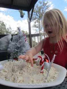 "Learn with Play at home: Make your own ""Shivery Snow"" So easy with ingredients from home."
