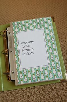 all things simple: family favorites recipe book. love the smaller size binder and different kinds of scrapbook paper for each subsection.