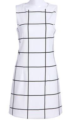 White Round Neck Sleeveless Plaid Dress