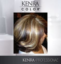 Foundation color: Kenra Color 6BC + 20vol. Anchor color: 6C + 30vol. Accent: Lightener + 10vol. through the top The GC Rapid Toner was applied to the pre-lightened areas with the 9vol. activator.