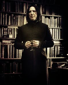 Severus Snape in his library.