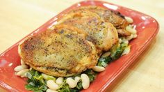 Crispy Skin Chicken Breasts with Escarole and White Beans #whatsfordinner #chicken #escarole