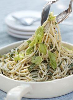 Pesto Spaghetti with Basil, Lemon, Sage, Pine Nuts, and Parmesan