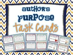 Author's Purpose Task Cards | Teaching with a Mountain View | {3-5}